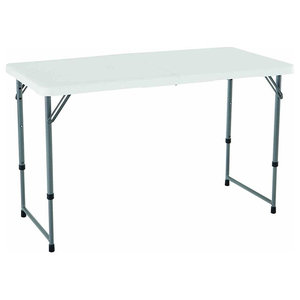 Contemporary Folding Table, Coated Steel Frame and White Plastic Table Top