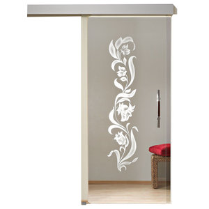 """Sliding Glass Door Clear Glass/Decor, Handle Stainless Steel, 28""""x 84"""", Left"""