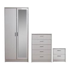 Khabat Bedroom Furniture Mirrored Set, White and White Oak