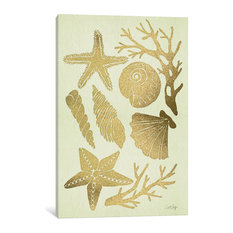 """""""Gold Seashells"""" Print by Cat Coquillette, 26""""x18""""x.75"""""""