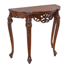International Caravan   Half Moon Wood Console Table,Brown Stain   Console  Tables