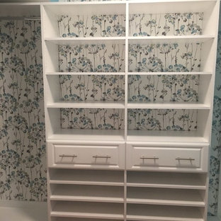 Wallpaper Accent Wall in Closet