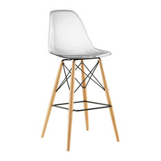 Molded ABS Plastic Bar Stool With Natural Wood Legs Clear
