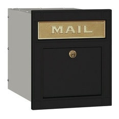 Salsbury Industries  4145P BLK Locking Plain Door Cast Aluminum Column  Mailbox In Black Column Mount Mailbox O66