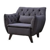 Midcentury Modern Tufted Linen Fabric Accent Chair, Dark Gray