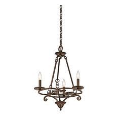 Caldella 3-Light Mini Chandelier, Aged Bronze