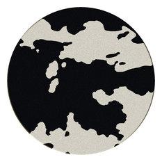 Cowhide Rug, Black, 8'x8' Round, Round