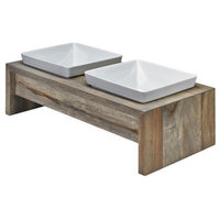 Artisan Rubberwood Double Elevated Dog Bowl Feeder, Fossil, Medium
