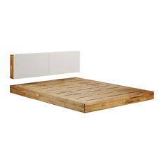 Mash Lax Modern Solid Wood Platform Bed, King Platform with Headboard