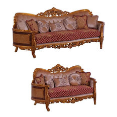 European Furniture - Modigliani 2 Piece Luxury Sofa Set In Red And Gold - 31058-