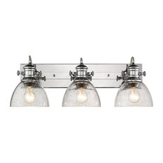 Hines 3-Light Bath Vanity, Chrome With Seeded Glass