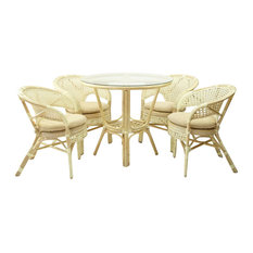 Rattan USA   5 Piece Pelangi Dining Rattan Wicker Armchairs And Round Table  Glass Top