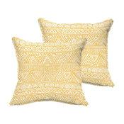 Soren Yellow/White Triangle Outdoor Square Pillow, Set of 2, Flange, 22x22