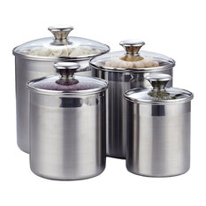 Cooks Standard - Cooks Standard 02553 4-Piece Canister Set, Stainless Steel - Kitchen Canisters and Jars