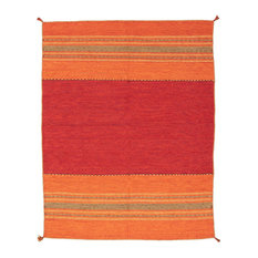 Hand Woven Arizona Kilim Rug, Red, 8'x10'