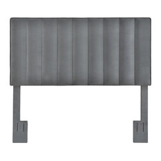 Vertically Channeled, Adjustable Full or Queen Headboard, Charcoal Gray
