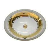 """Hand Painted Sink AP-1420 """"Classic Band 2"""" Bright Gold."""