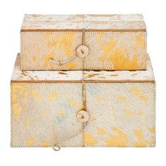 "Wood Leather Gold Box, 10"", 11"", 2-Piece Set"