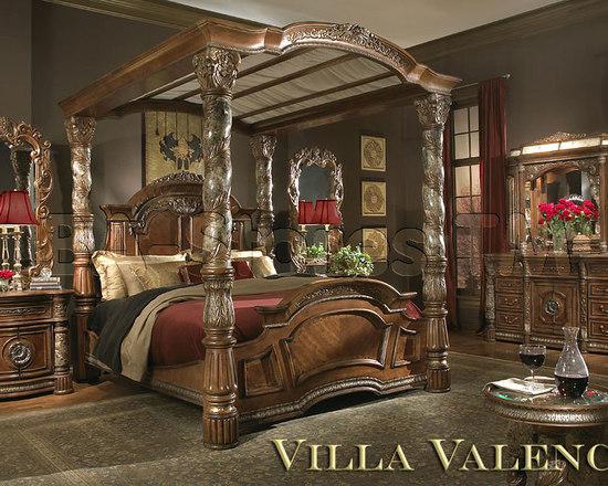 Michael Amini Bedroom Set In Classic Chestnut Villa Valencia Collection Bedroom Furniture