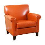 Canton Orange Leather Club Chair