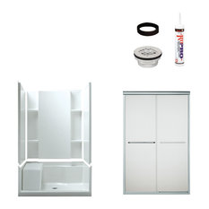 sterling sterling accord 745x36x48 alcove shower kit silver with frosted glass shower