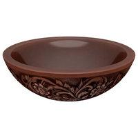 "Swell 16"" Handmade Sink, Polished Antique Copper, Floral Design Exterior"