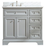 "Ari Kitchen and Bath - South Bay 37"" Bathroom Vanity, Gray Finish - Solid wood construction"
