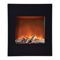 """Amantii Wall Mount Built In Black Glass Surround Electric Fireplace 24"""" Wide"""