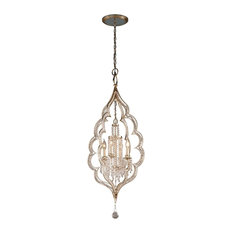 Bijoux 4-Light Pendant, Silver Leaf With Antique Mist