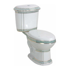 Renovator's Supply - Dual Flush Elongated Two-Piece Toilet White And Green Porcelain - Toilets