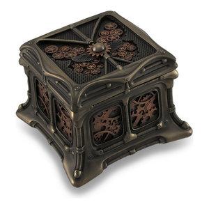 Steampunk Butterfly Bronze Finish Trinket Box Stash Box