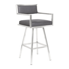"""Dylan 30"""" Barstool, Brushed Stainless Steel and Vintage Gray Faux Leather"""