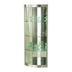 6617-CUR-COR Corner Curio Cabinet With Mirror Interior