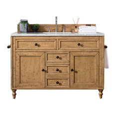 "Copper Cove 48"" Vanity, Driftwood Patina, 4cm Carrara White Marble Top"