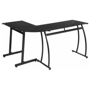 Moder Desk With Strong Steel Frame, Tempered Glass Top, L Shaped Design, Black