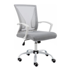 leather office chair modern. Modern Home - Zuna Mid-Back Office Chair, White/Gray Leather Chair