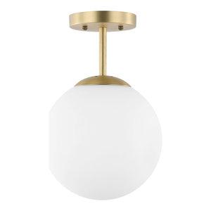 Aura Globe Ceiling Light, Milk Glass