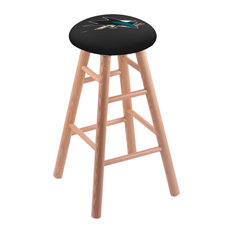 Oak Bar Stool Natural Finish With San Jose Sharks Seat 30-inch