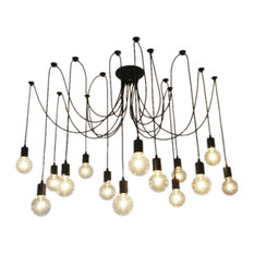 14-Light Pendant Swag Chandelier, Black