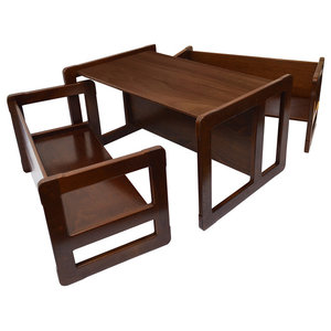 3 in 1 Kids Set of Benches and Table, Dark