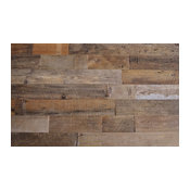 """Reclaimed Wood Wall Paneling, Brown, 5.5"""" Wide, 20 sq. ft., Unsealed"""