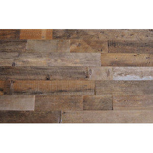 "Reclaimed Wood Wall Paneling, Brown, 5.5"" Wide, 20 sq. ft., Unsealed"