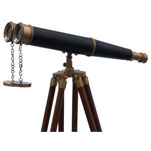 """Floor Standing Admirals Antique Brass Binoculars With Leather, 62"""""""