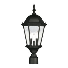 Hamilton Outdoor Post Head, Black and Clear Beveled Glass
