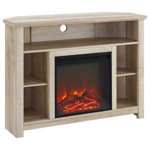 Corner Fireplace Shelf, White Oak