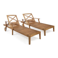 Thalia Outdoor Teak Finished Acacia Wood Chaise Lounge, Set of 2