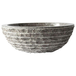 Marmo Round Marble Vessel Sink, Grey