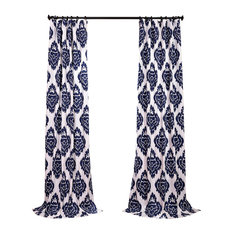 "Ikat Blue Printed Cotton Curtain Single Panel, 50""x84"""