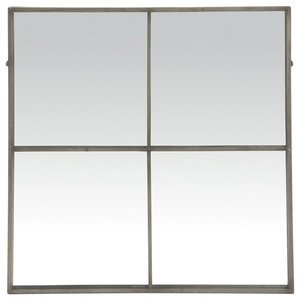 Window Pane Wall Mirror with Antiqued Silver Metal Frame, 80x80 cm