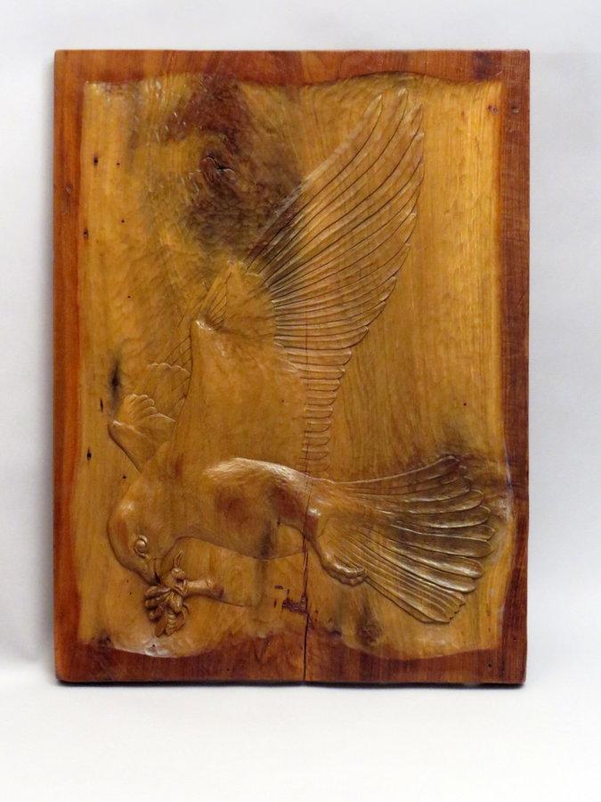 "Amur Falcon Relief-Carved Poplar Panel 18.5""x24.5"""